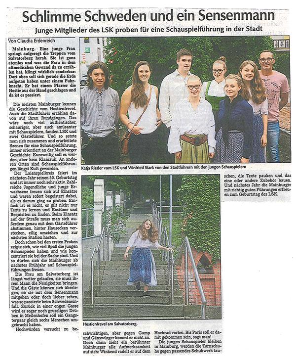 LSK Jugend probt für Aufführungen in der Stadt